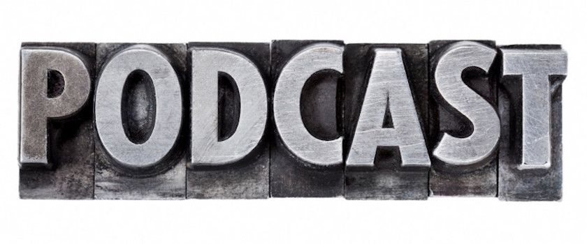 podcast - internet broadcasting concept - isolated word in grunge vintage metal letterpress printing blocks